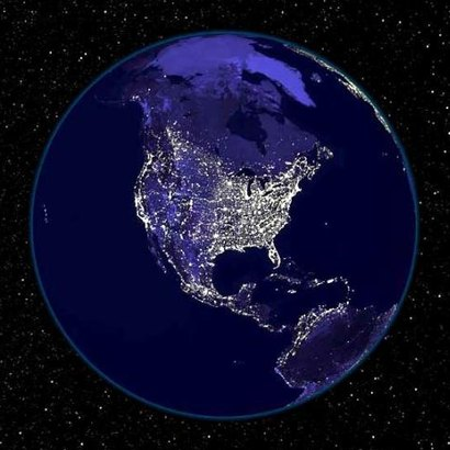 Simulation of Earth at Night 410x410